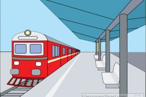train at covered outdoor train station clipart