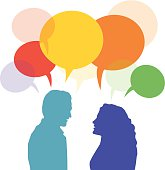two people talking clipart