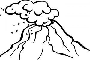 volcano clipart black and white 3