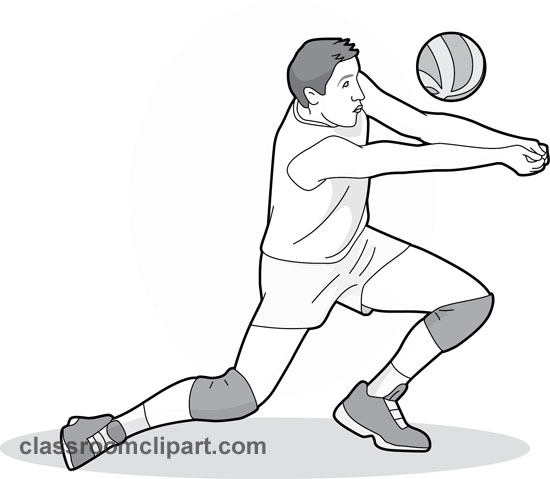 Volleyball passing. Forearm pass gray clipart