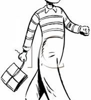 walking clipart black and white 4