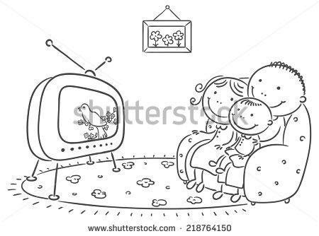 Watching Tv Clipart Black And White 6