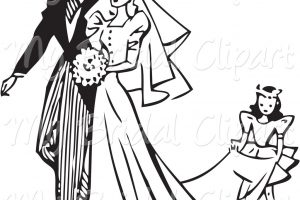 wedding clipart black and white 8