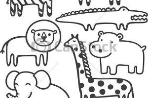 wild animals clipart black and white