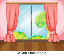 window with curtains clipart 6
