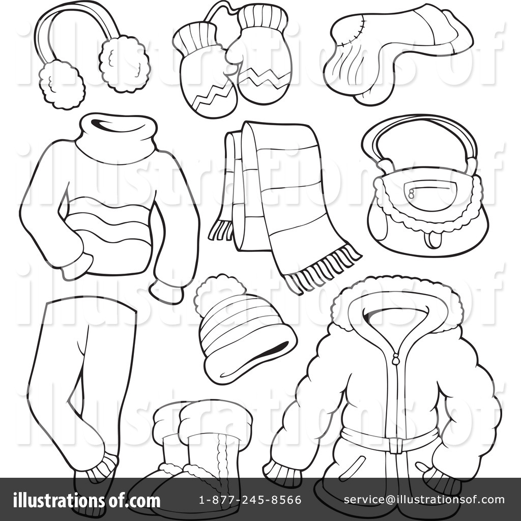 Winter clothes clipart black and white 12 » Clipart Station