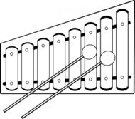 xylophone clipart black and white 3