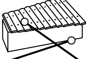 xylophone clipart black and white 4