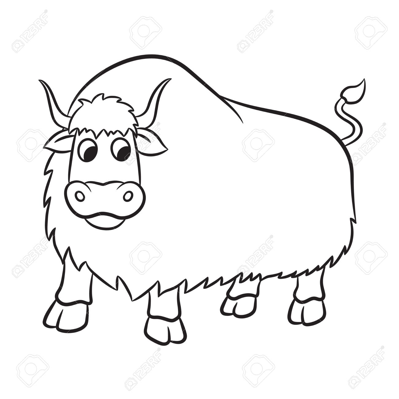 Line Drawing Yak : Yak clipart black and white station