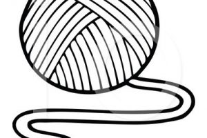 yarn clipart black and white_2