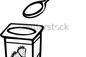 yogurt clipart black and white_7