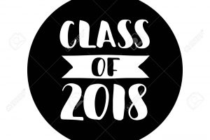 Class of 2018. Hand drawn lettering Graduation label. Vector element for graduation design for greeting, invitation card