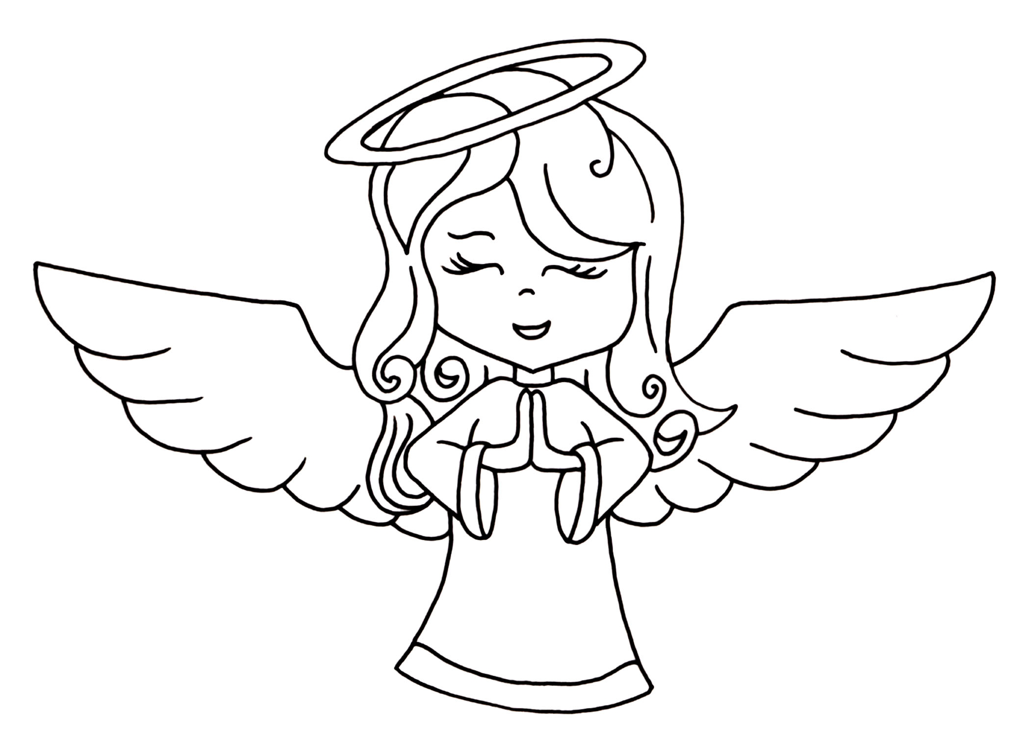 Angel white. Clipart black and lovely