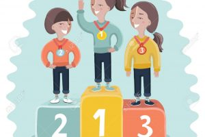 Ceremony of awarding medals. Three female athletes on the pedestal. Vector illustration of a flat design