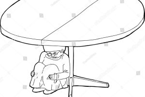 Outline Shaking Child Under Table Stock Vector 295366424 regarding Luxury Of Ball Under The Table Clipart Black And White