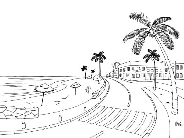 Beach black and white. Clipart station