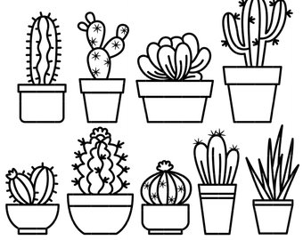 Cactus white. Black and clipart station