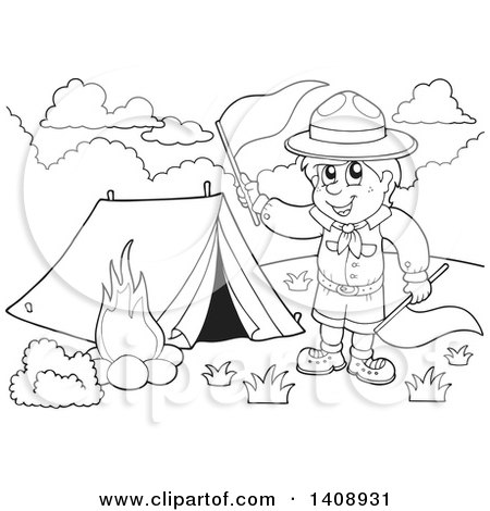 Black And White Camping Clipart
