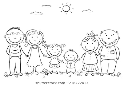 Black and white family clipart 2 » Clipart Station