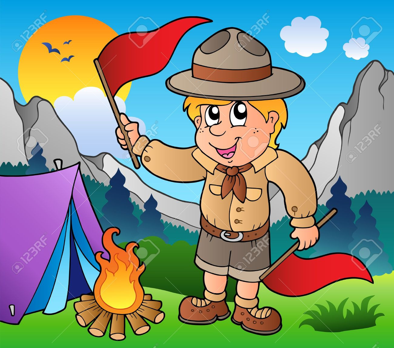Camping boy. Scout clipart station