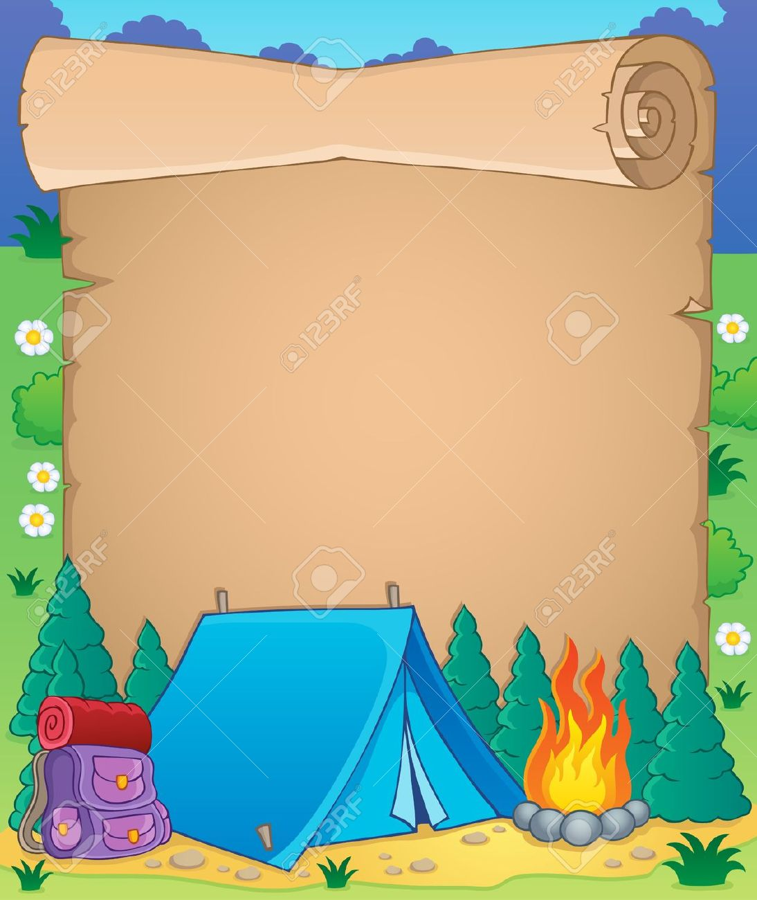 Camping background. Clipart station