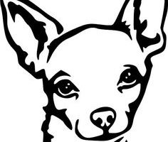 chihuahua clipart black and white 1