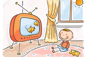 child watching tv clipart 2