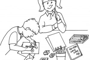 Children Writing Clipart Black And White Templates Corner For