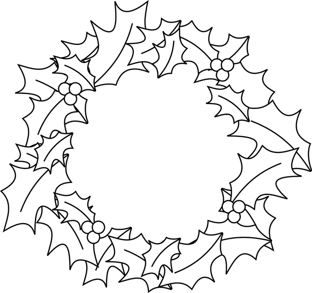 Christmas wreath clipart black and