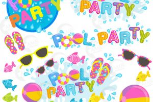 clipart pool party 9