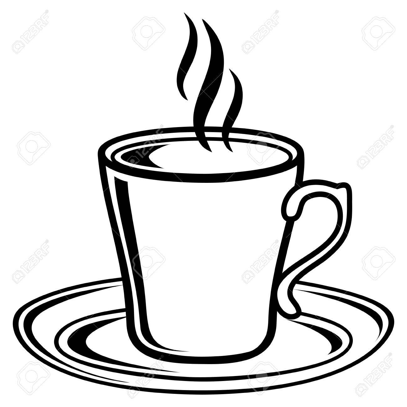 Coffee cup black and white. Clipart station