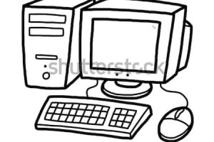 computer black and white clipart 5