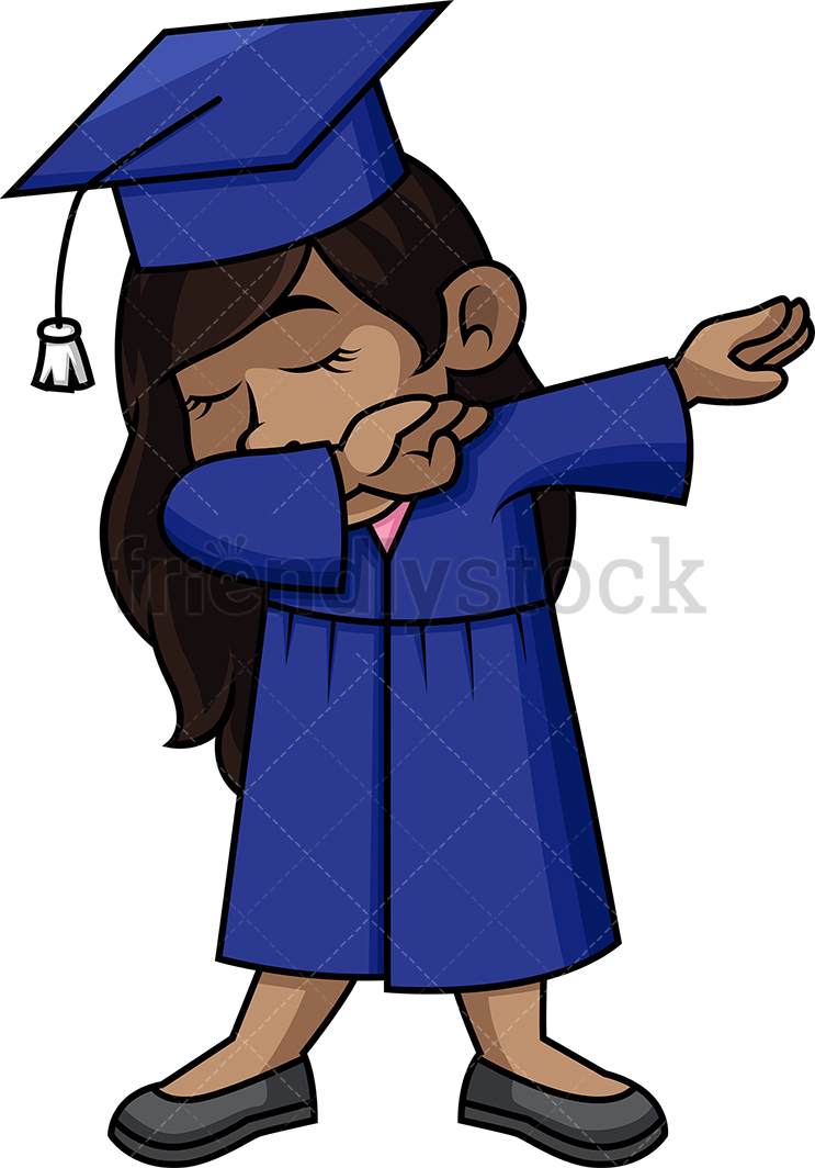 African-American female graduate doing the dab  PNG – JPG
