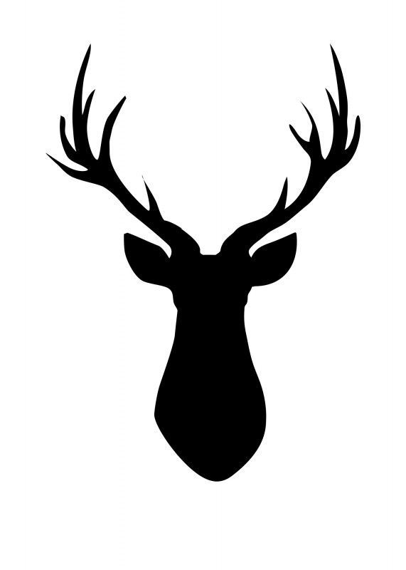 Deer head black. Clipart and white station