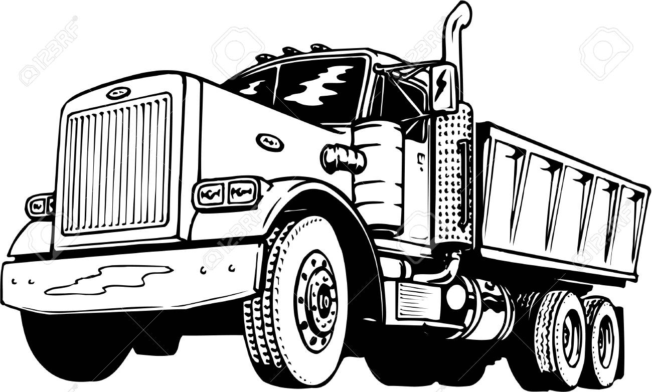 Dump truck clipart black and white 5