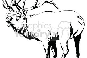 elk clipart black and white 4