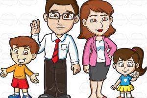 family of four clipart 3
