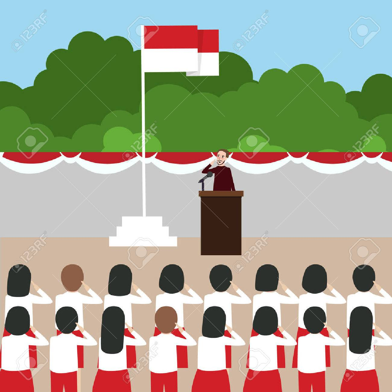 Flag school. Ceremony in clipart station