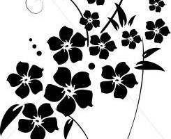 flower images clipart black and white 1