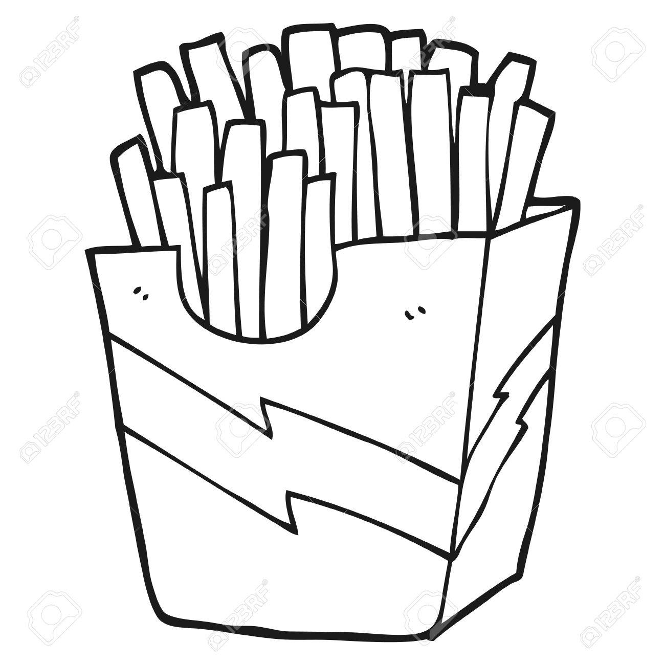 Black And White Cartoon French Fries Clipart Station