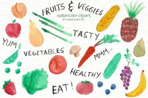 fruit and veggies clipart 1