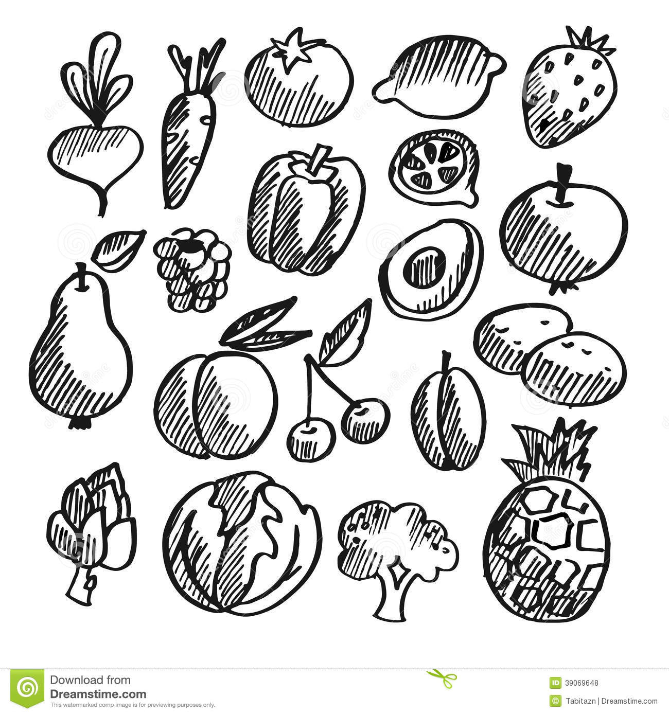 Fruit and veg pencil drawing black and white fruits vegetables clipart sketch pencil and in color fruits