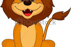 funny lion clipart 1