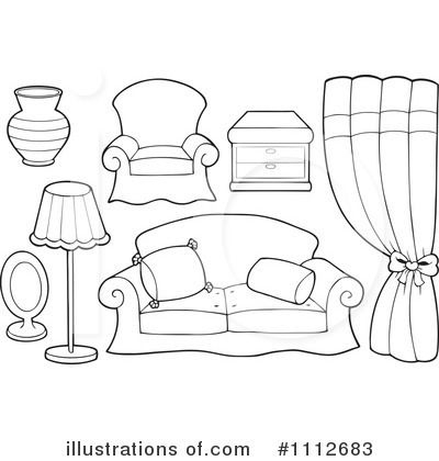 Furniture Clipart Black And White Pencil And In Color Furniture