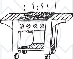 grill clipart black and white 3