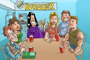 group of people eating clipart 4