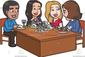 group of people eating clipart 5