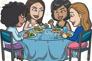 A group of girls gossiping around a healthy meal