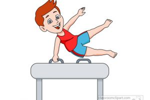 performing gymnastics on pommel horse