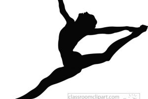 Silhouette of gymnast performing floor exercise clipart